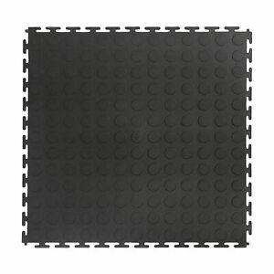 VersaTex 18 x 18 Inch Coin Top Garage Interlocking Floor Tiles, Black (8 Pack)