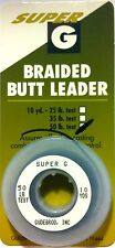 Gudebrod Butt Leader Braided Mono 50 lb Test Black Spliceable 1 Spool 10 Yds