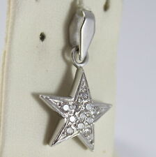 SOLID 18K WHITE GOLD STAR PENDANT WITH ZIRCONIA ROUND CUT, MADE IN ITALY