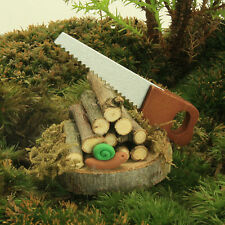 Woodpile and Saw ~ Fairy Garden Miniature ~ Wooden ~ Handmade by Jennifer