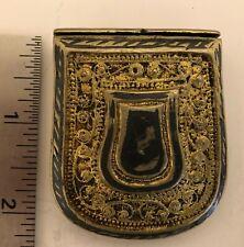 Antique Russian Filigree and Niello Decorated Belt Box/ Palaska/ Matchbox 260-2
