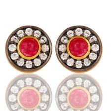 Red Aventurine Cz Brass Stud Earrings 18k Gold Plated Womens Fashion Jewelry