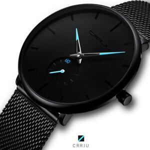 【30m waterproof】Men Quartz Sport Ultra-Thin Stainless Steel Watch watches Mens