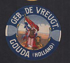 Ancienne  étiquette Fromage Hollande  BN11297 Gouda Femme Lion