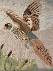 Original Hooked Rug Wall Hanging - Pheasant in Flight, Unsigned, Mounted on Wood