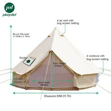 4-Season 6M Canvas Glamping Tent Family Camping Party Bell Tent Waterproof Yurt