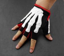 Skeleton Bone Mens Punk Biker Driving Sport L Size Fingerless Half Finger Gloves