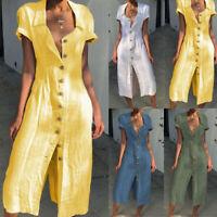 Womens Boho Cotton Short Sleeve Ladies Midi Dress Plain Color Casual Beach Dress