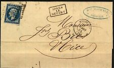 France 1861 cover 20c Napoleon tied 1896 Marseille (12) boxed Apres Le Depart w