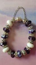 Anesiidora 18KGP Silver European bead bracelet White Purple Grape Violet Shell