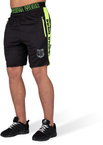 Gym Shorts Gorilla Wear Shelby Shorts Bodybuilding MMA - Black/Neon Lime - 2xl
