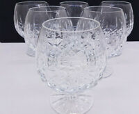 Set of x6 Lovely Large Cut Crystal Wine Glass Balloon Stem Goblet Boxed