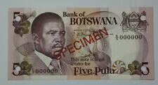 """1982 BOTSWANA 5 PULA """"SPECIMEN"""" UNC [P-8s1] C/5 000000"""