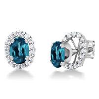 1.80 Ct Oval 7x5mm London Blue Topaz 925 Sterling Silver Stud Earrings