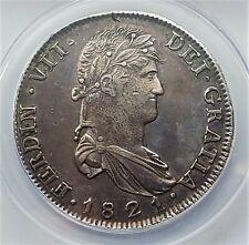 8 Reales 1821ZS RG Ferdinand VII War Of Independence ZACATECAS AU50 ANACS Rare !