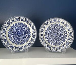 Pair Antique BOOTHS Indian Ornament Ironstone 1870's Blue White Charger Plates