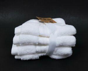 NEW SET OF 4 ECOEXISTENCE SOFT,PLUSH SNOW WHITE,100% COTTON WASHCLOTHS TOWELS