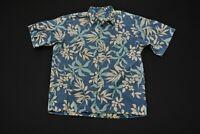 Reyn Spooner Hawaiian Shirt Aloha Blue Teal White Floral Print Men's XL