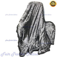 Charcoal Luxury Crushed Velvet Sofa Bed Throw Blanket Large Size 150 x 200cm