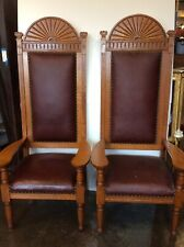 Pair of Massive Oak Carved, Leather Throne Chairs 72�H