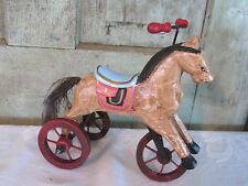 Sweet Primitive Carved Wood Wooden Christmas Rocking Tricycle Horse Decor Toy