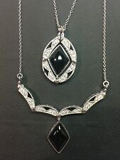 Patented Convertible 2 in 1 Changeable Black Onyx Pendant Necklace
