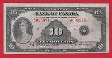 1935 A095974 Canada $ 10 Ten Dollar Note Osborne Towers  Fine  Trend $250