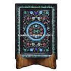 """12""""x9"""" Black Marble Tray Malachite With Turquoise Inlay Collectible Decor E92"""