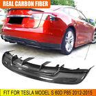 Fits Tesla Model S 60D P85 12-15 Carbon Fiber Rear Bumper Lip Diffuser Spoiler