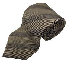 """RARE XMI Atkinsons Royal Irish Poplin Silk Tie Light Dark Brown Stripe 4"""" x 60"""""""