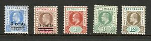 Seychelles, a small selection of unused stamps, MH, 1903 - 06.
