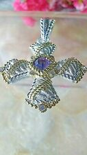 """APPROX 2""""IN STERLING SILVER CROSS CZ AMETHYST WITH GOLD ACCENTS BY JUDITH RIPKA"""