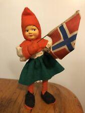 "Vtg Antique 6"" Christmas Elf Gnome Troll Girl Doll w/ Norway Flag"