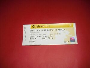 2020/21 CHELSEA V WEST BROMWICH OFFICIAL MEDIA PASS TICKET (2021 WEST BROM)