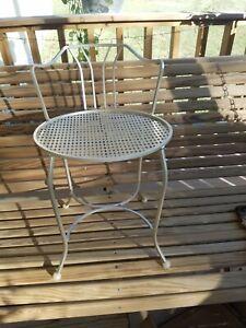 Cute Vintage Metal Vanity Stool Chair Mid Century Metallic Gold