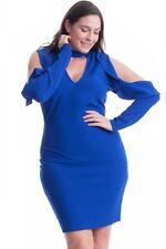 PLUS COLD SHOULDER BODYCON RUFFLE CUTOUTS ROYAL BLUE BLACK DRESS NEW 1X 2X 3X