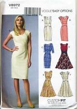 VOGUE SEWING PATTERN 8972 MISSES 14-22 CUSTOM FIT DRESS W/ FLARED / PENCIL SKIRT