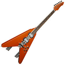 Stagg G-Force Flying V Style Electric Guitar Race Car Design Metallic Orange s