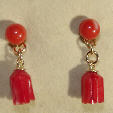 ANTIQUE QUALITY 14K GOLD SARDINIA RED CORAL STUDS & CARVED ROSE DROP EARRINGS