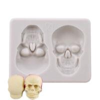 Dual Skull Silicone Shape Cake Mold Fondant Chocolate Mould Decor Baking Tool DB