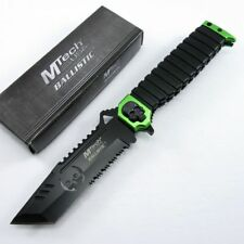 Spring-Assist Folding Pocket Knife Mtech Green Zombie Skull Black Tanto Serrated
