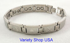 "Stainless Steel Magnetic 9"" Bracelet Golf Theme SS16Golf-Silver 50,000 Gauss"