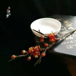 Red Plum Blossom Hairpin Hair Stick Kanzashi Kimono Hanfu Handwork Winter mt00