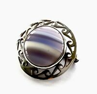 VINTAGE 1986 MALCOLM GRAY ORTAK SILVER BLUE BANDED AGATE CABOCHON BROOCH PIN