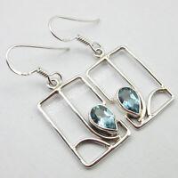 925 Solid Silver Cut Blue Topaz 2.0 tcw Dangle Earrings Women Handmade Jewelry