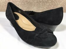 EARTH Teaberry Women's BLACK Leather Office Slip On Low Wedge Heel Pumps 6M US