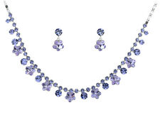 Made with Swarovski  Crystal Element Drop Hibiscus Flower Earring Necklace Set