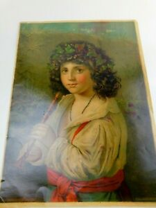 "1880 Chromolithograph H Hallett &Co. Portland Maine ""Italian Sheppard Boy"""