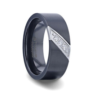 Black Titanium Ring with Silver Diagonal Design and Set of 3 Diamonds - 8mm NEW