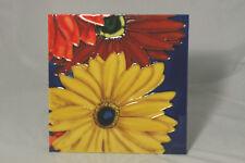 """Bold Art Ceramic Floral Tile Plaque Rafuse Signed 7"""" x 7"""""""